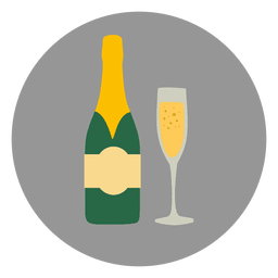 Champagne glass circle icon