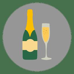 Ícone de círculo de vidro champanhe