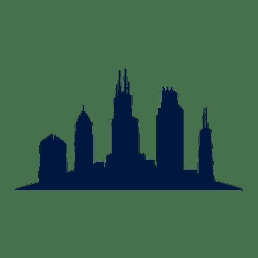 Silueta de paisaje urbano de horizonte de Chicago Transparent PNG