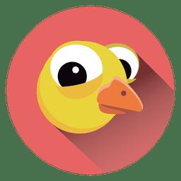 Icono de círculo de dibujos animados de pollo
