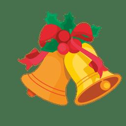 Navidad campanas muérdago dibujos animados