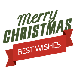 Christmas best wishes ribbon label