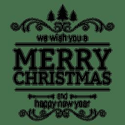 Emblema de saudação de ano novo de Natal