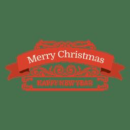 Distintivo swirly retrô de ano novo de Natal