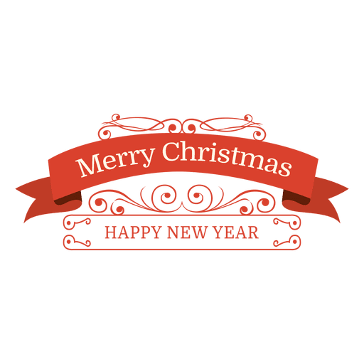 christmas new year retro swirly badge transparent png svg vector