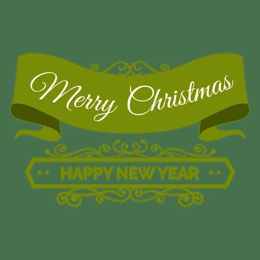 Christmas ribbon new year badge Transparent PNG