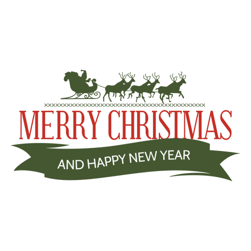 christmas sleigh new year badge transparent png svg vector