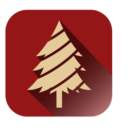 Christmas tree red square icon