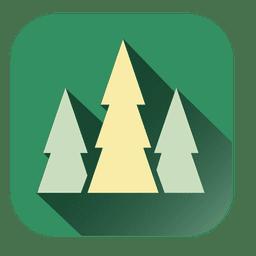 Icono cuadrado de árboles de navidad