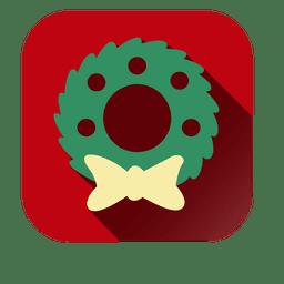 Corona de Navidad icono cuadrado