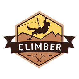 Climber hexagonal retro label