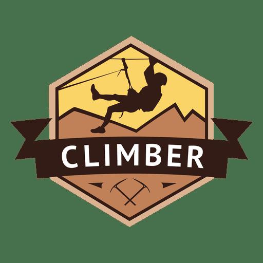Climber hexagonal retro label Transparent PNG