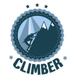 Climber hicking vintage round label