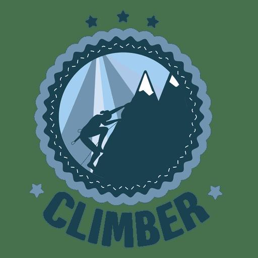 Climber hicking vintage round label Transparent PNG