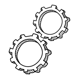 Cog wheel hand drawn icon