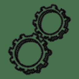 Icono dibujado mano rueda dentada