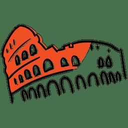 Coliseo dibujado a mano monumento
