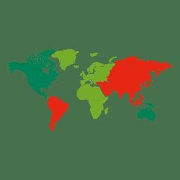 Mapa mundial dos continentes coloridos