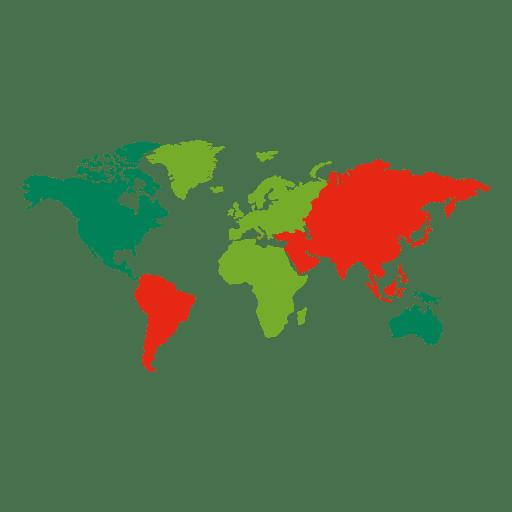Mapa del mundo de continentes de colores Transparent PNG