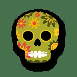 Cráneo de azúcar floral colorido