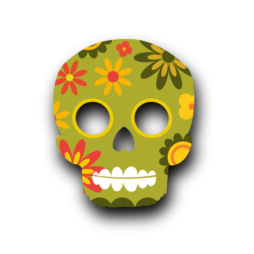 Colorful floral sugar skull Transparent PNG