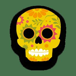 Crânio de açúcar amarelo floral colorido