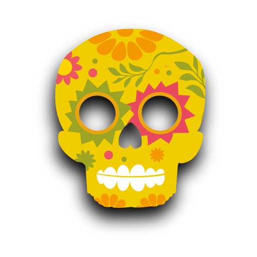 Colorful floral yellow sugar skull Transparent PNG