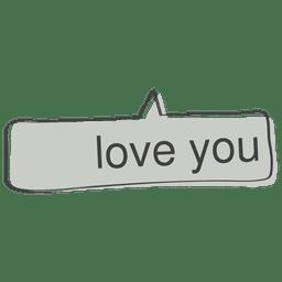 Doodle de discurso em quadrinhos de amor