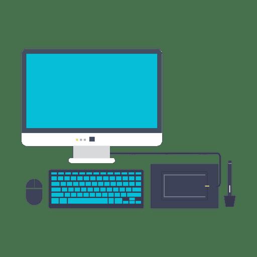 Icono plano conjunto de computadora