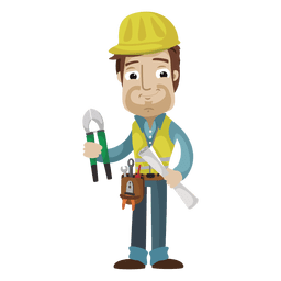 Construction worker cartoon illustration