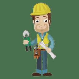 Ilustração dos desenhos animados do trabalhador da construção