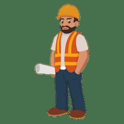 desenhos animados do trabalhador da construção
