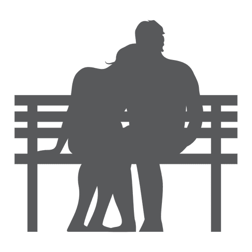 Couple sitting on bench silhouette Transparent PNG
