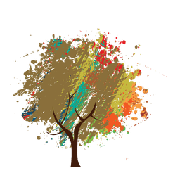 Crayon painted abstract tree