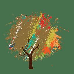 Wachsmalstift gemalt abstrakten Baum