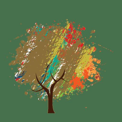 Wachsmalstift Gemalt Abstrakten Baum Transparenter Png Und Svg
