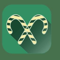 Cross candycane square icon