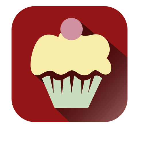 Cupcake flat square icon Transparent PNG