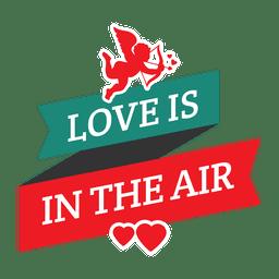 Cupid ribbon valentine badge