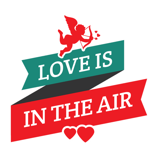 Cupid ribbon valentine badge Transparent PNG