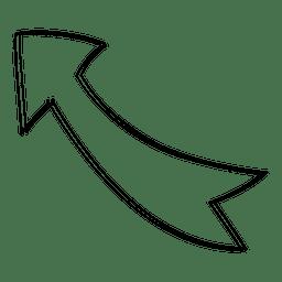 Seta direita superior curva