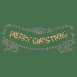 Cinta de Navidad dibujada a mano con curvas