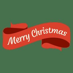 Insignia de cinta roja de Navidad con curvas