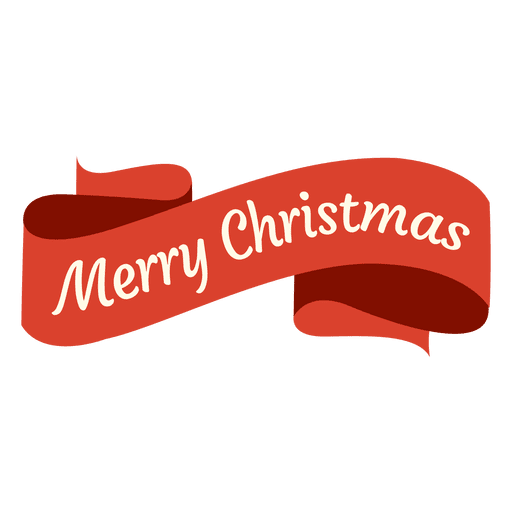 Curvy red xmas ribbon badge Transparent PNG