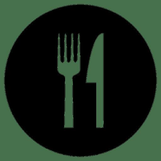 Icono de servicio redondo de cubiertos