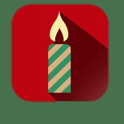 Ícone quadrado vermelho vela decorativa