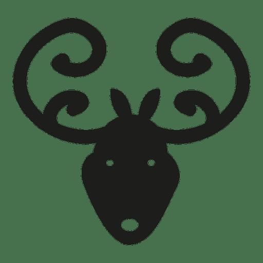 Silueta de icono de cabeza de ciervo Transparent PNG