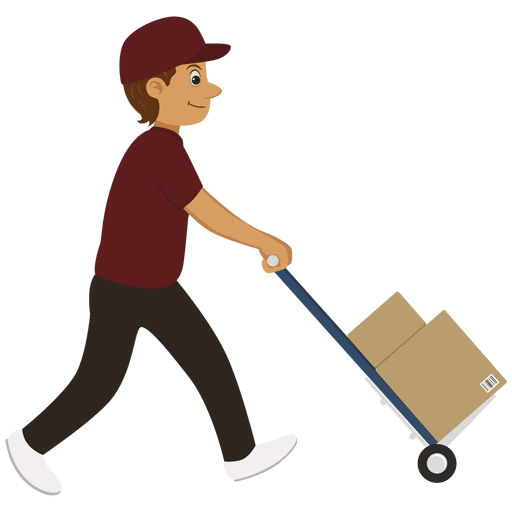 Delivery man carrying trolley Transparent PNG