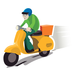 Delivery man on motorbike