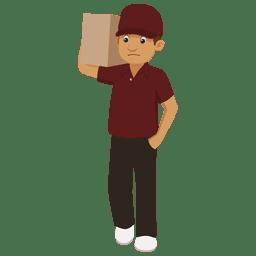 Dibujos animados de paquete de hombre de entrega